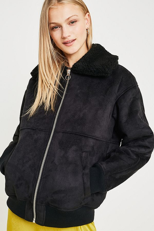 d0227be69 UO Black Faux Suede + Borg Bomber Jacket