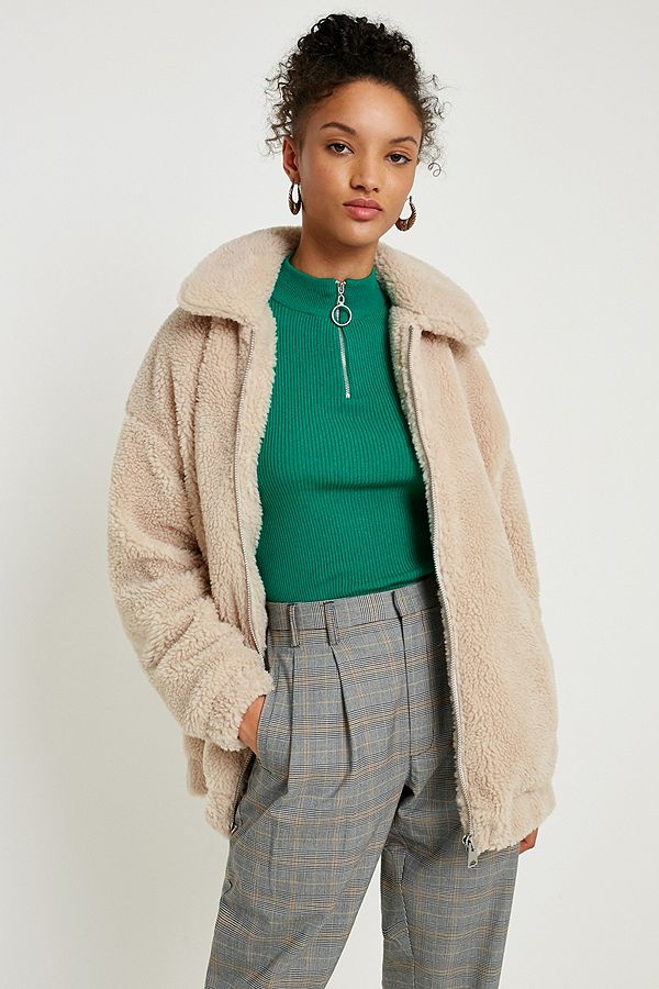 4b7babc2ea9 Light Before Dark Teddy Cream Zip-Through Jacket | Urban Outfitters UK