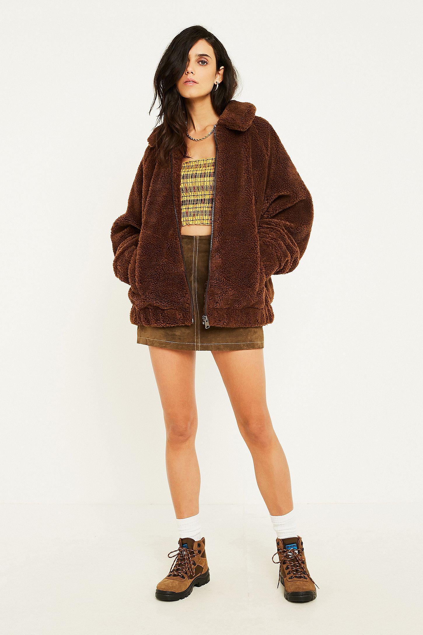 Teddy Jas We.Uo Brown Teddy Zip Through Coat Urban Outfitters Uk