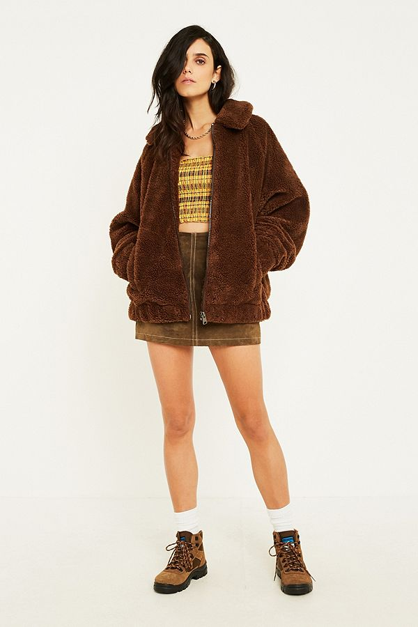 fdd134e3fd9 UO Brown Teddy Zip-Through Coat | Urban Outfitters UK
