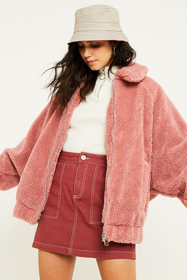 3771024f617 UO Rose Teddy Zip-Through Coat | Urban Outfitters UK