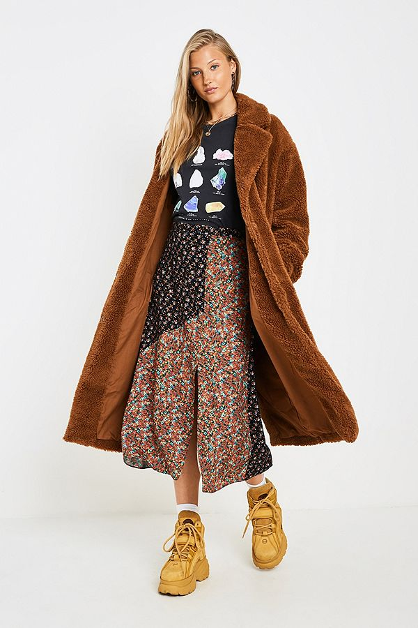 a965f0424 UO Long Tan Teddy Coat