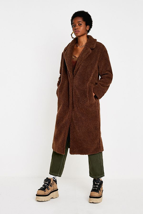 e85fb5beb UO Long Brown Teddy Coat
