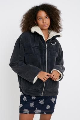 Bdg Cord And Borg Black Utility Coat by Bdg