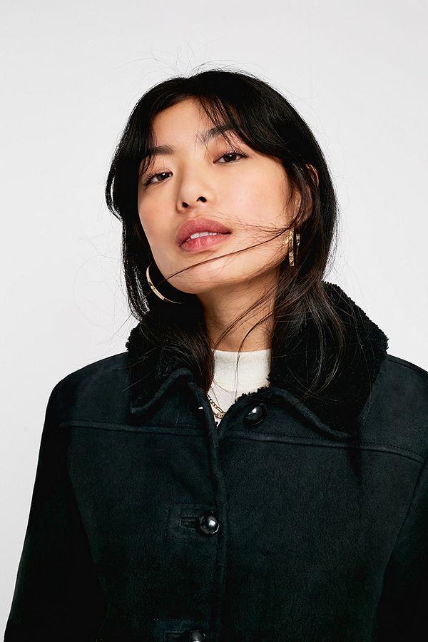 Urban Outfitters – Hochwertiger Mantel aus Wildleder in Schwarz