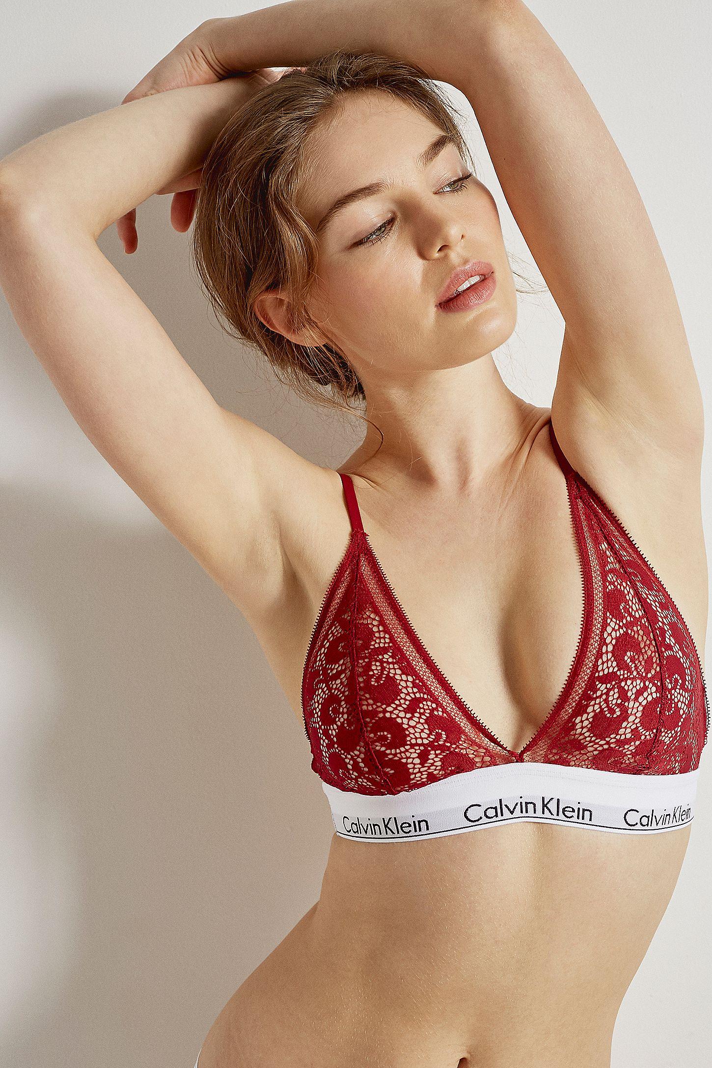 5de68d2d91b8 Calvin Klein Berry Lace Triangle Bralette | Urban Outfitters UK