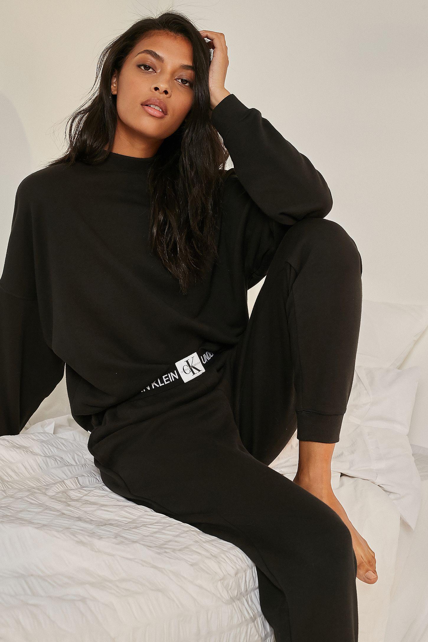 4fb4dd576eea5 Calvin Klein Black Monogram Logo Lounge Pants   Urban Outfitters UK