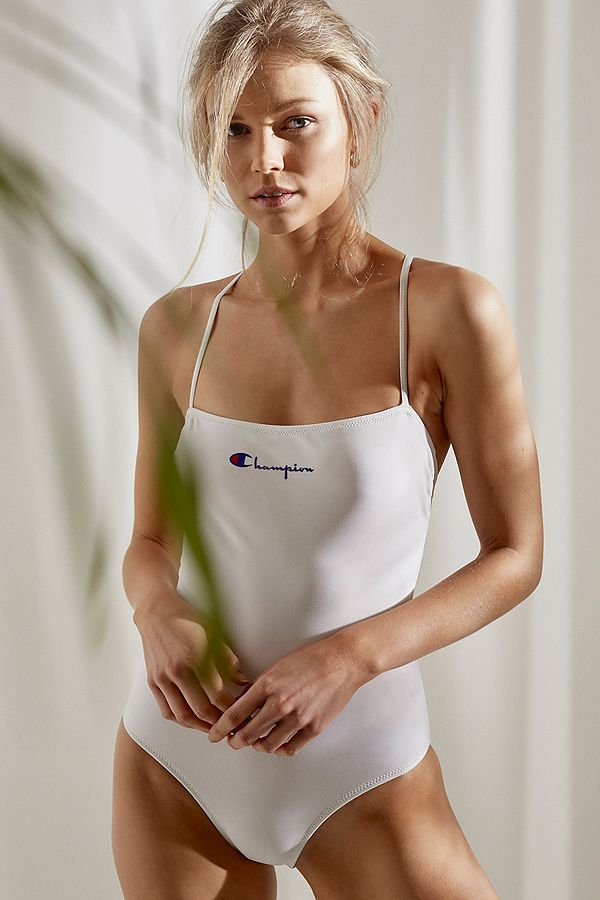 02d0a7f2af Champion Logo Script White One-Piece Swimsuit | Urban Outfitters UK