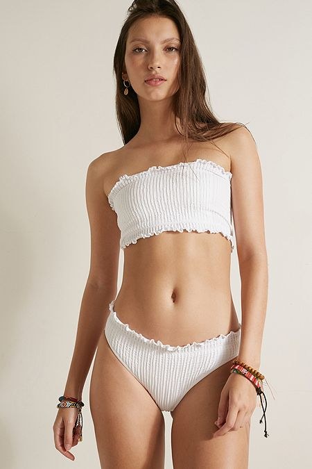 fc2e642793db7 Out From Under Mae Frill Bandeau Seamless Swim Bikini Top
