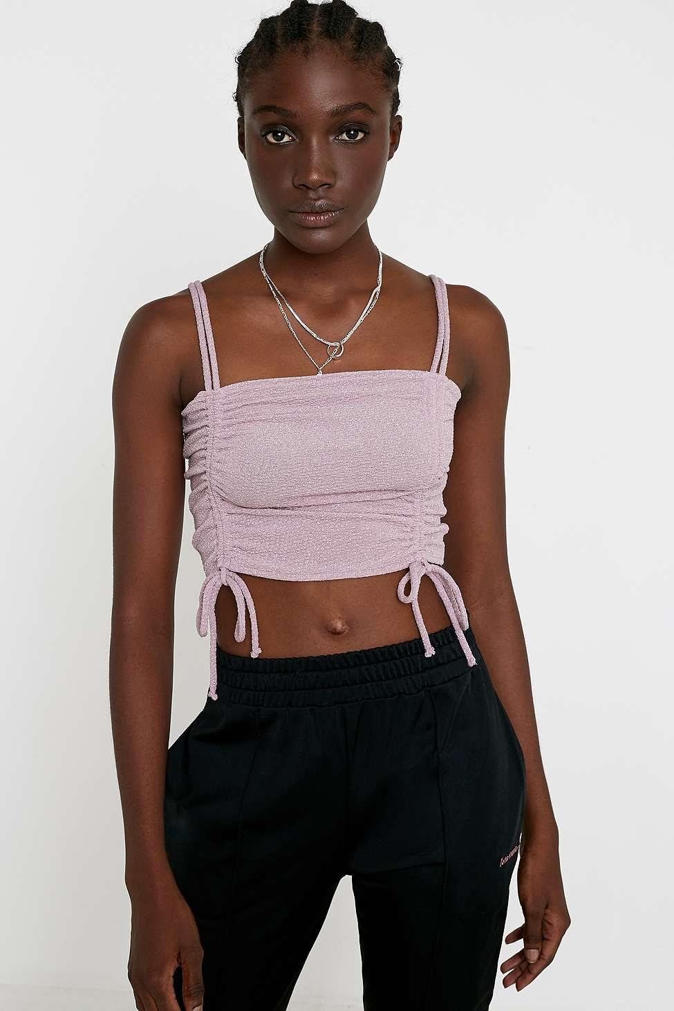 Uo Glitter Ruched Cami by Urban Outfitters