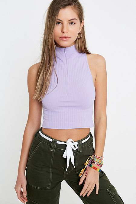 e37628bf165525 UO Sleeveless Rib-Knit Funnel Neck Top