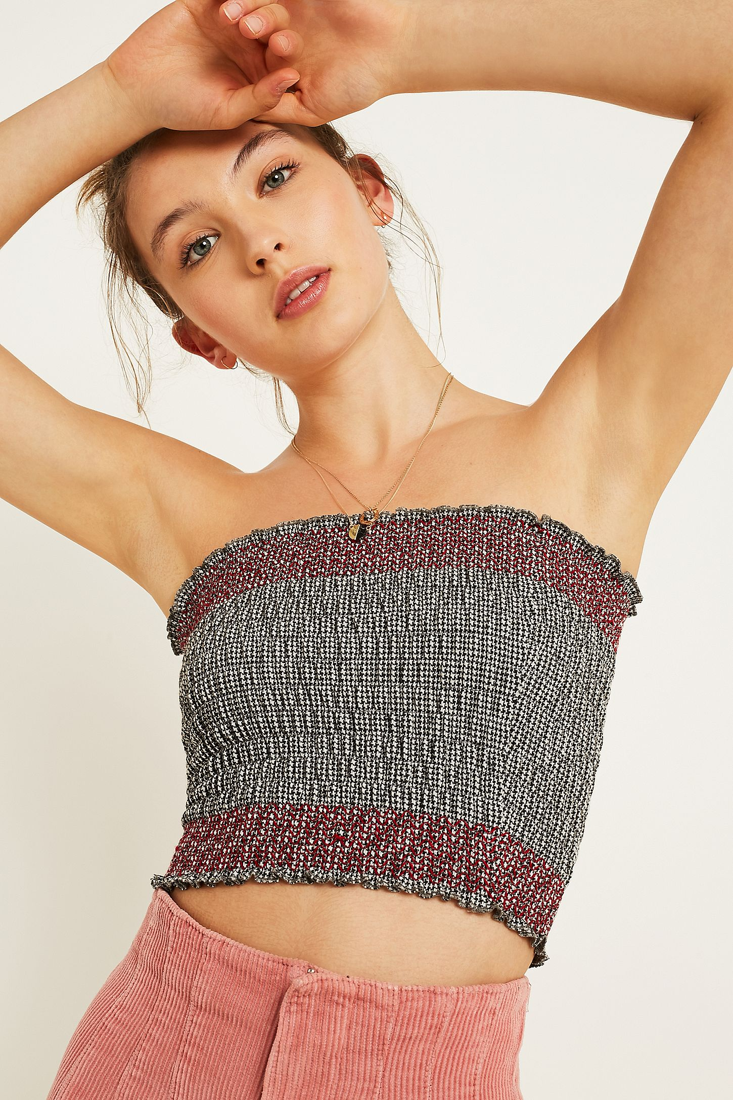 a824d04519 UO Gingham Smocked Bandeau Tube Top