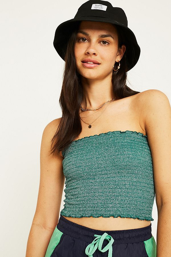 29175827861 UO Shimmer Smocked Bandeau Tube Top | Urban Outfitters UK