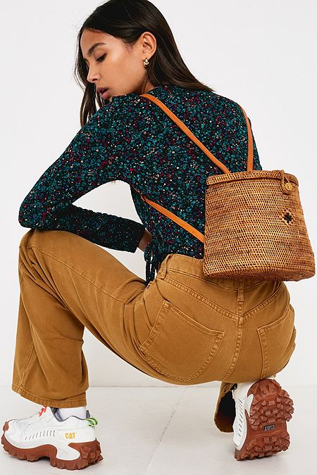 8d337c8638 UO Structured Wicker Straw Backpack