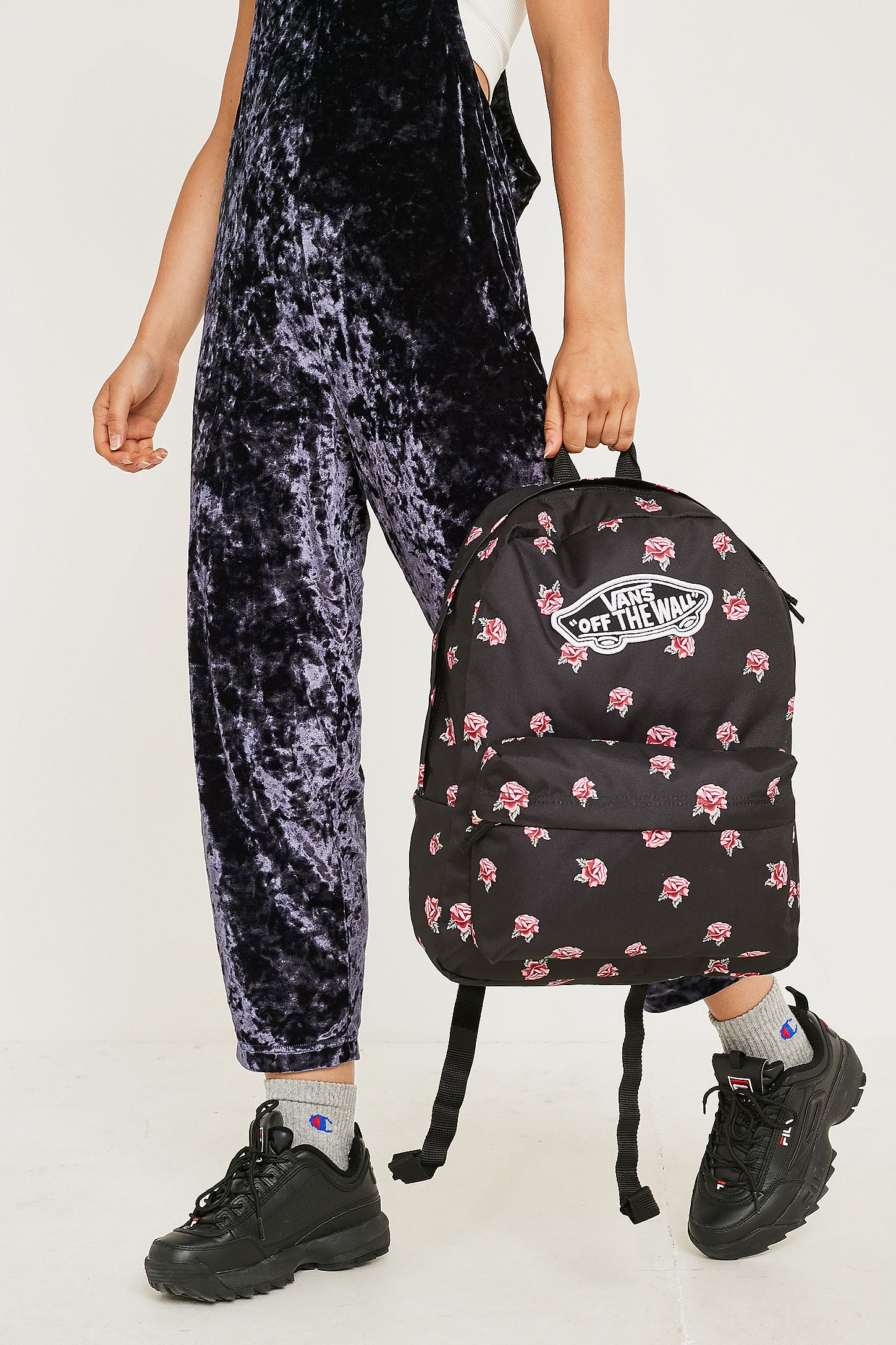 26fcfe30388 Vans Realm Rose Black Backpack. Click on image to zoom. Hover to zoom.  Double Tap to Zoom