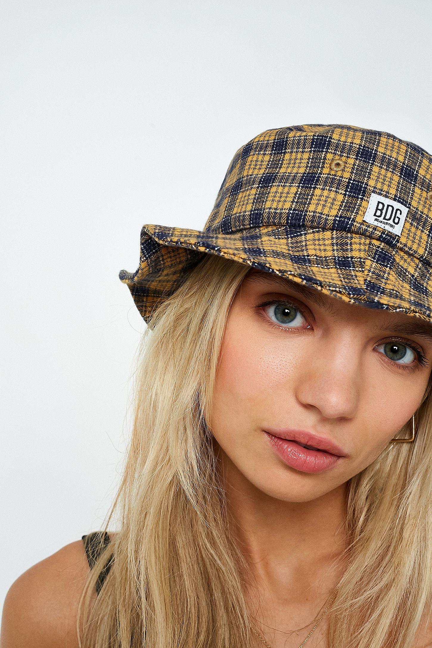 4c969c3b95600 BDG Blue and Orange Checked Bucket Hat