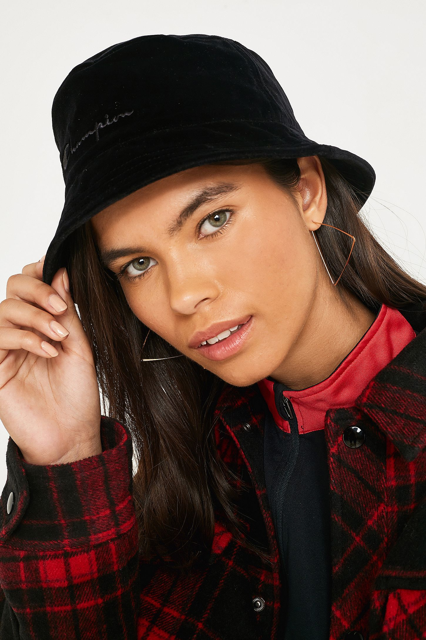 f566d9fd Champion Velour Bucket Hat | Urban Outfitters UK