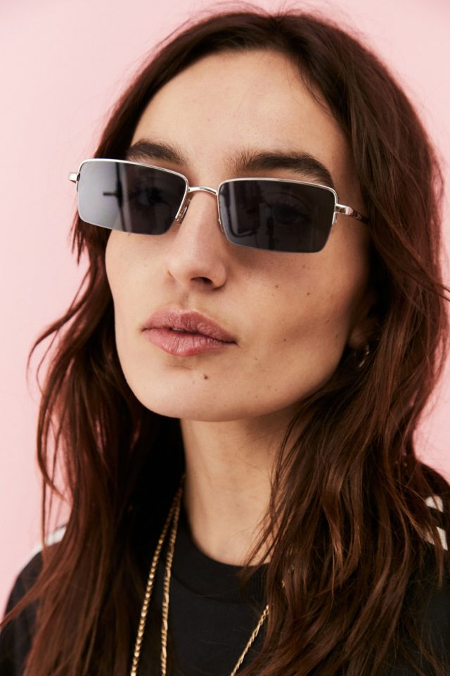 UO Rectangle Lens Rimless Sunglasses urban outfitters