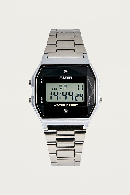 2dabbe194031 Casio Vintage Digital Silver Diamond Face Watch