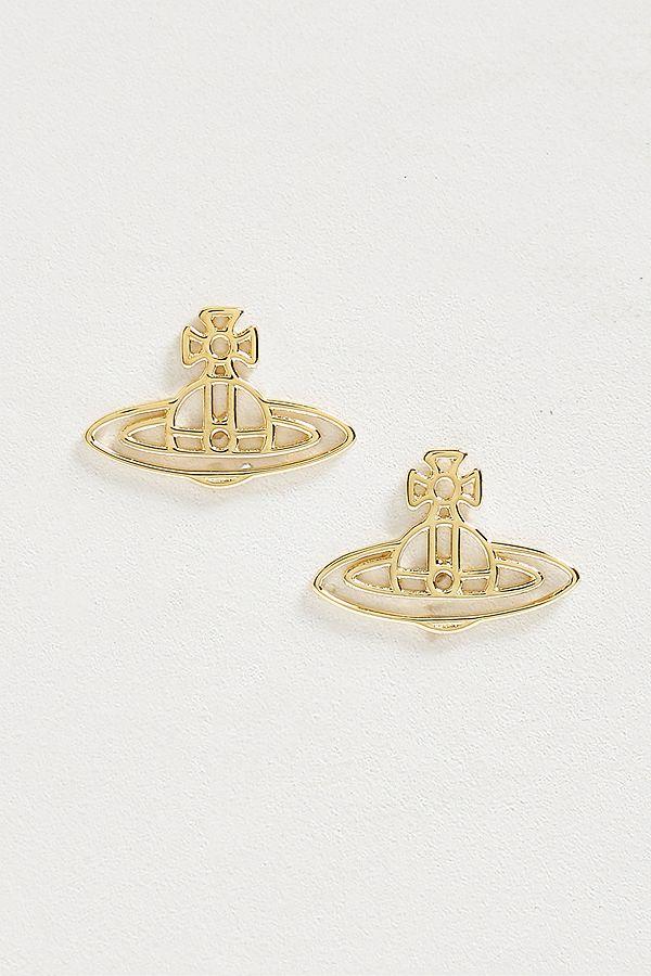 c5dc6d74f Slide View: 1: Vivienne Westwood Thin Lines Gold Flat Orb Stud Earrings