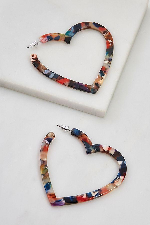 Resin Heart Statement Earrings