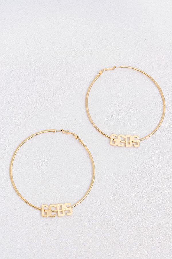 GCDS Gold-Plated Logo Hoop Earrings