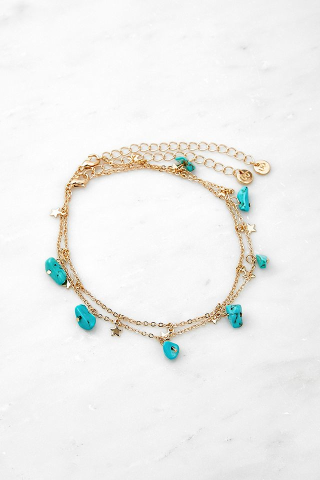 Gold-Tone Semi-Precious Stone & Star Anklet 2-Pack Urban Outfitters