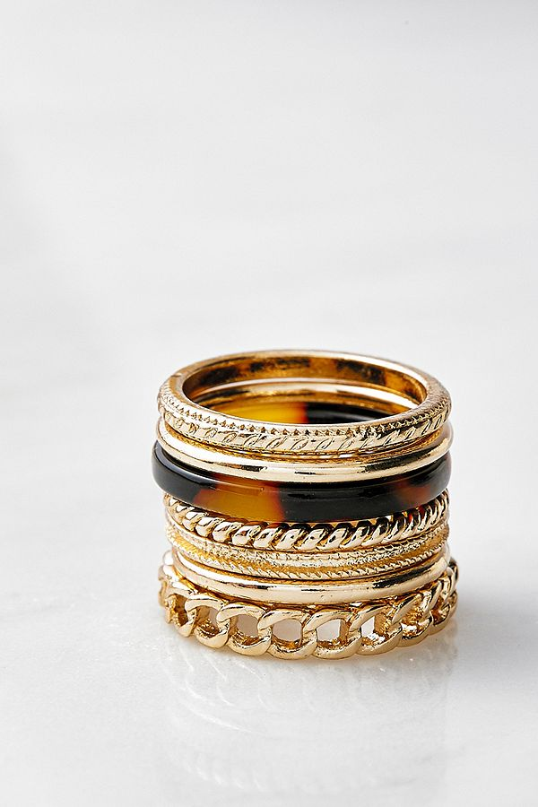 Ring Set In Gold & Schildpatt by Urban Outfitters