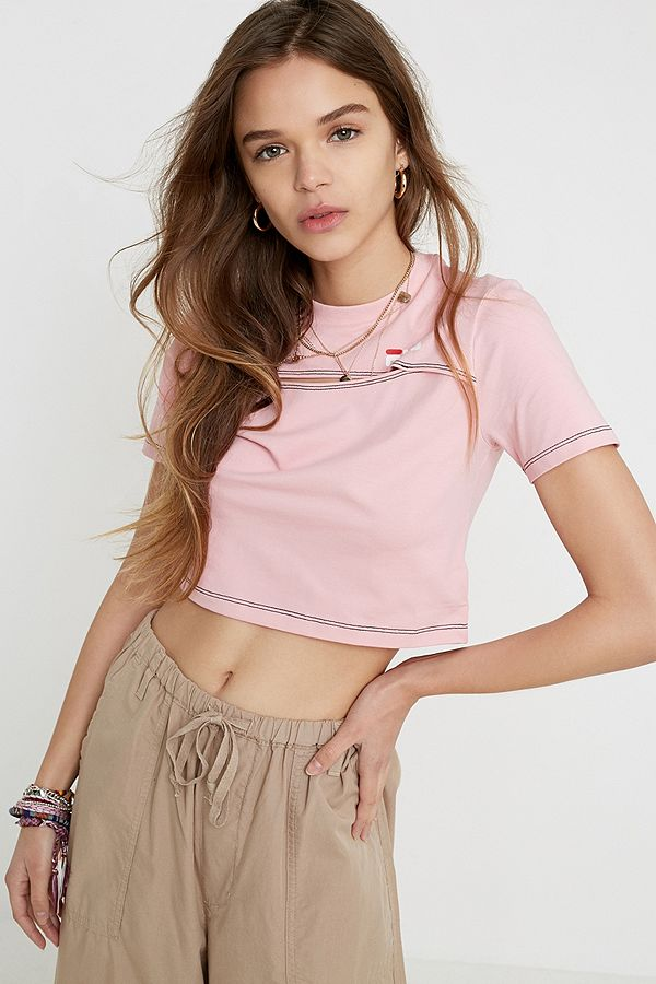 fila-pink-keyhole-crop-t-shirt by fila
