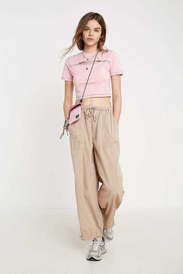 4d813ea3d29313 FILA Pink Keyhole Crop T-Shirt | Urban Outfitters UK