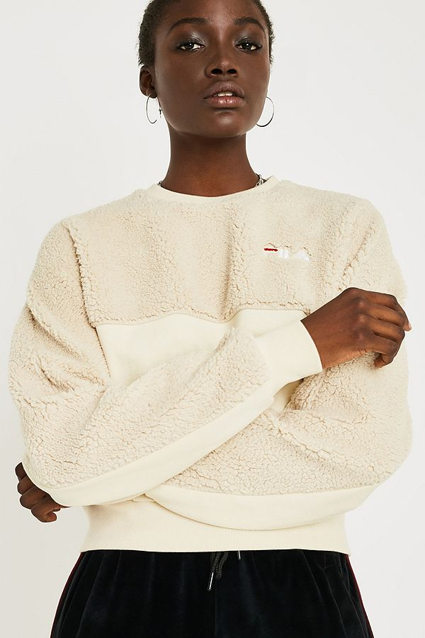 a0dfca80c7b23 FILA Cia Cream Fleece Crew Neck Sweatshirt | Urban Outfitters UK