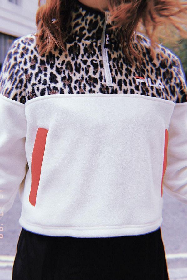 59c6461bcf59 FILA Apple Leopard Print Half-Zip Jacket | Urban Outfitters UK