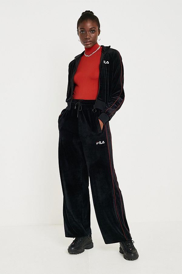1ee00fffdd98 FILA Poppy Velour Wide-Leg Track Pants | Urban Outfitters UK