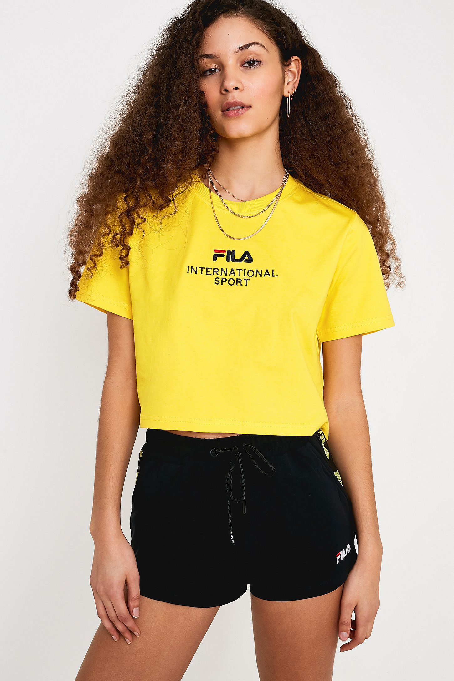 7e7feed01b72d3 FILA Philis Yellow Crop T-Shirt | Urban Outfitters UK