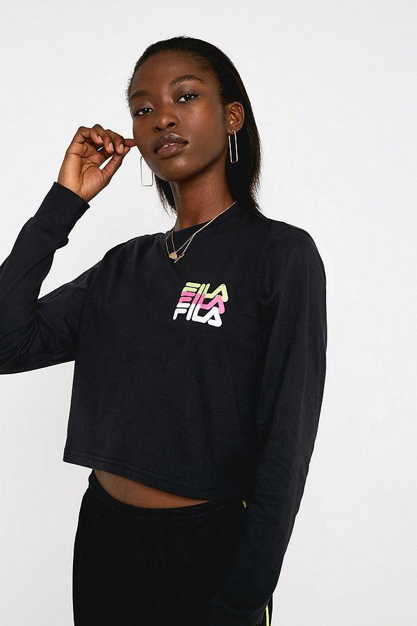 7ee84236336 FILA Paulita Neon Logo Long-Sleeve T-Shirt | Urban Outfitters UK