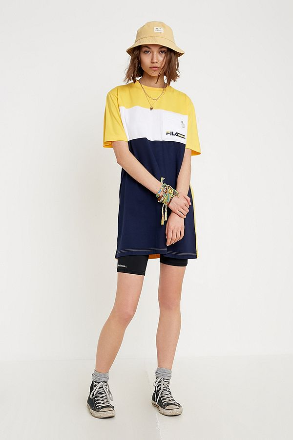 Block Bella Fila Shirt Color Jaune Courte Robe T srCxdthQ