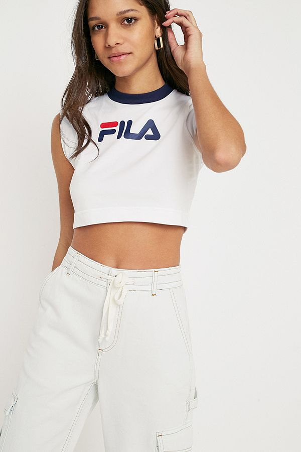 083f61af33f FILA Pia Archive Crop T-Shirt | Urban Outfitters UK