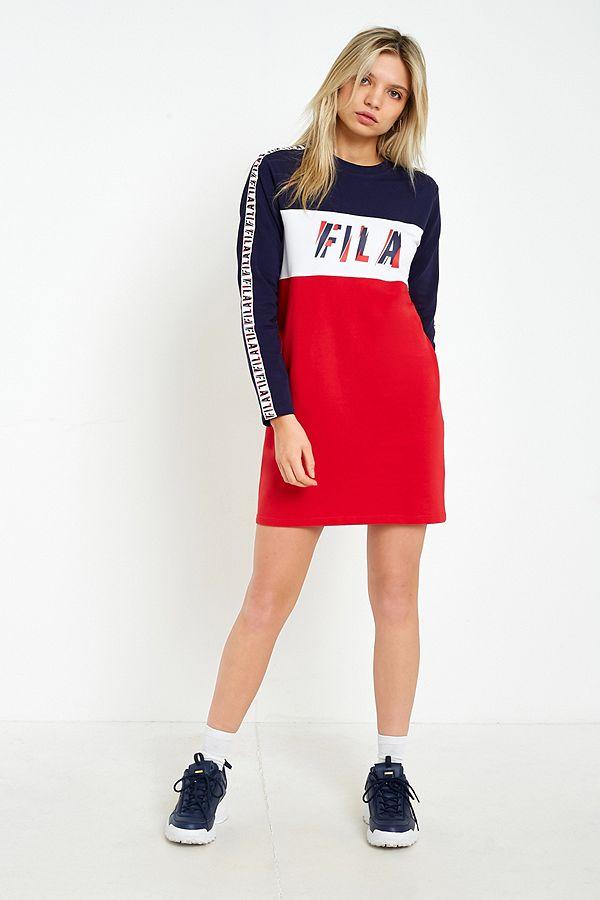 29804b8cd162 FILA Logo Taped Striped Long Sleeve T-Shirt Dress | Urban Outfitters UK