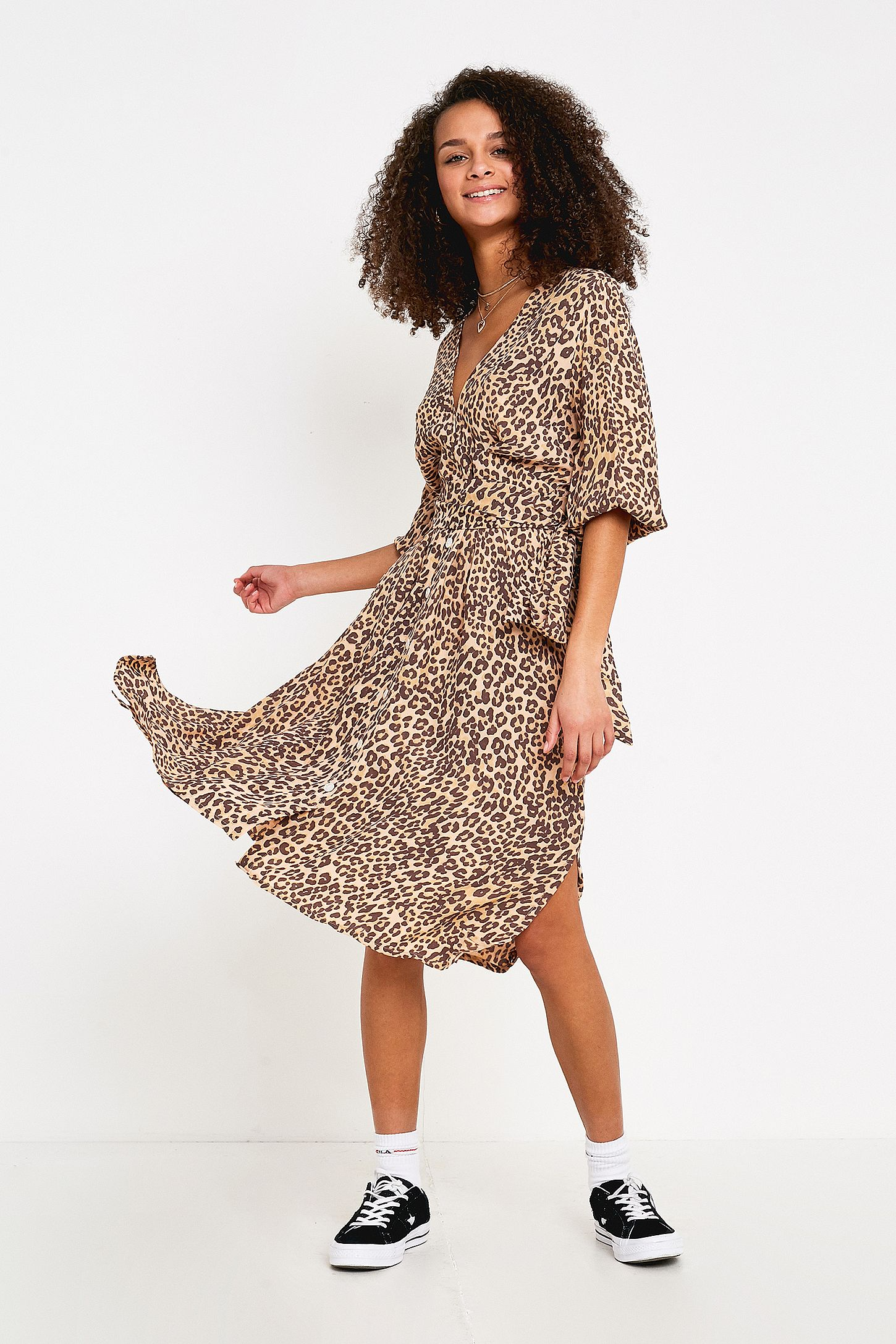 95d8577496cc Faithfull The Brand Chloe Leopard Print Midi Dress | Urban Outfitters UK