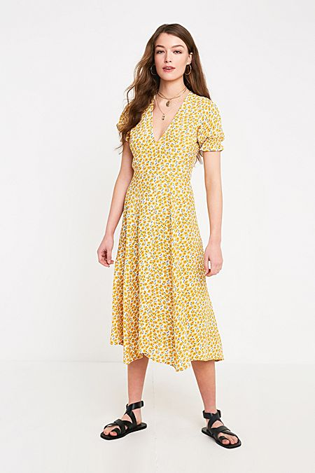 c9f864f2bb9 Faithfull The Brand Ari Yellow Floral Midi Dress