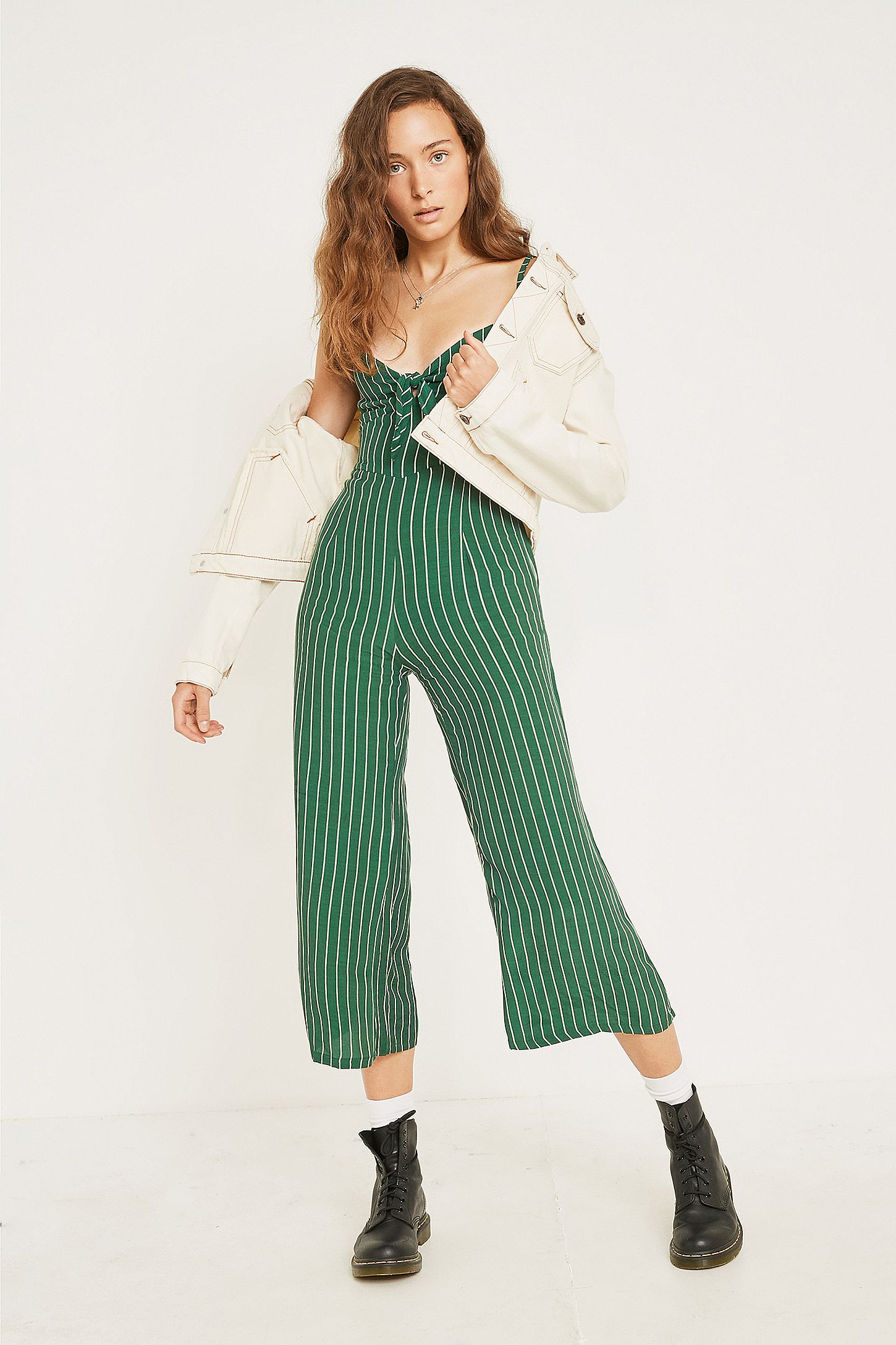 2c2e1ff1f09d Faithfull The Brand Presley Green Stripe Jumpsuit | Urban Outfitters UK