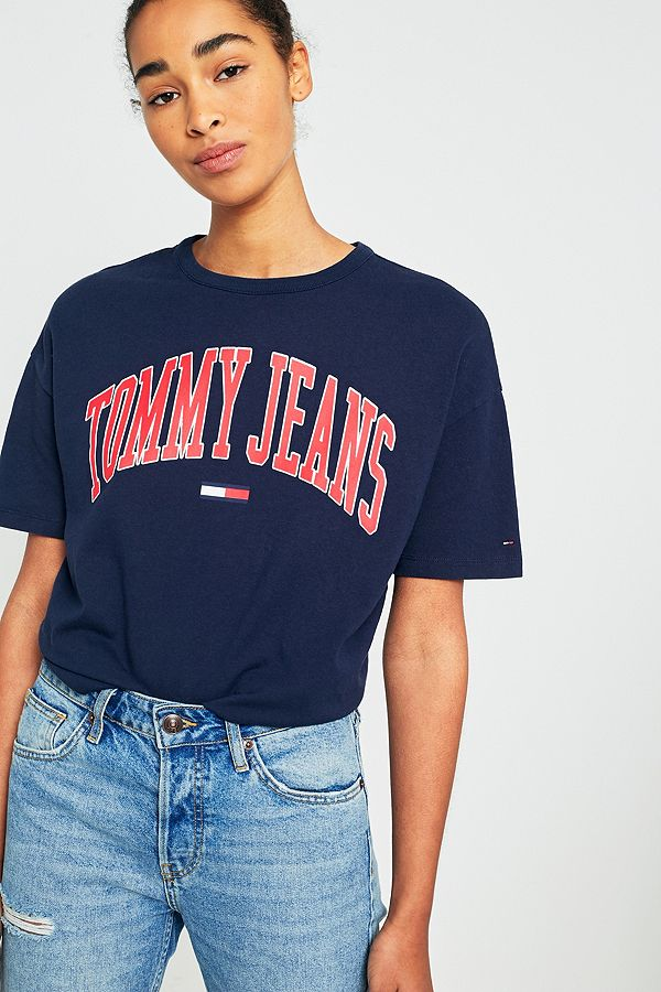 c7e942f6 Tommy Jeans Collegiate Navy Logo T-Shirt | Urban Outfitters UK