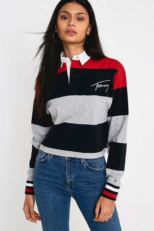 1a9e7bc0dbf Tommy Hilfiger Cropped Rugby Top | Urban Outfitters UK