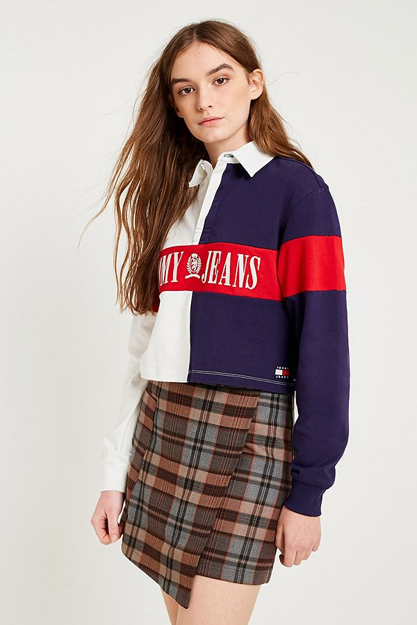 a5c919dd2876 Tommy Jeans Cropped Rugby Shirt | Urban Outfitters UK