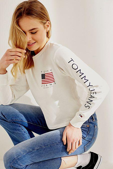 9ba7c572ddb2 Tommy Jeans Flag Logo White Long-Sleeve T-Shirt