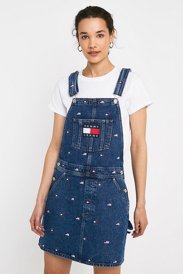 a0c4586ca7 Slide View  1  Tommy Jeans Flag Pattern Pinafore Dress