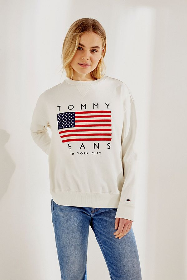 8f7a8232000 Slide View  1  Tommy Jeans Flag Logo White Crew Neck Sweatshirt