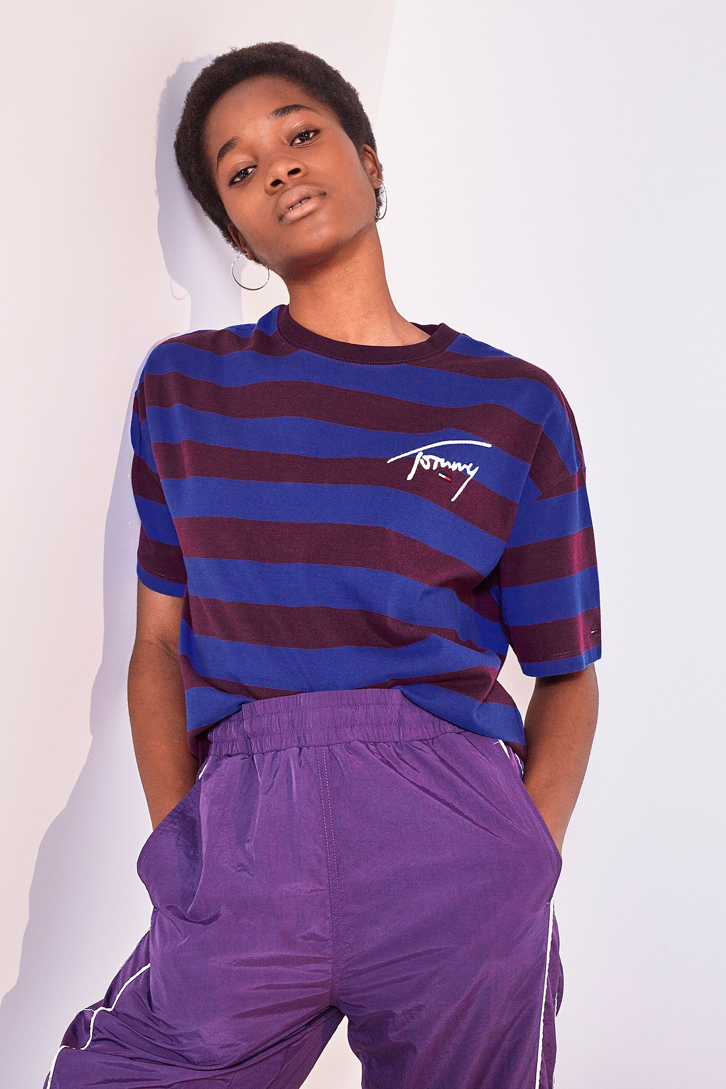 f90f82bef2 Tommy Jeans Signature Stripe Dark Purple T-Shirt | Urban Outfitters UK