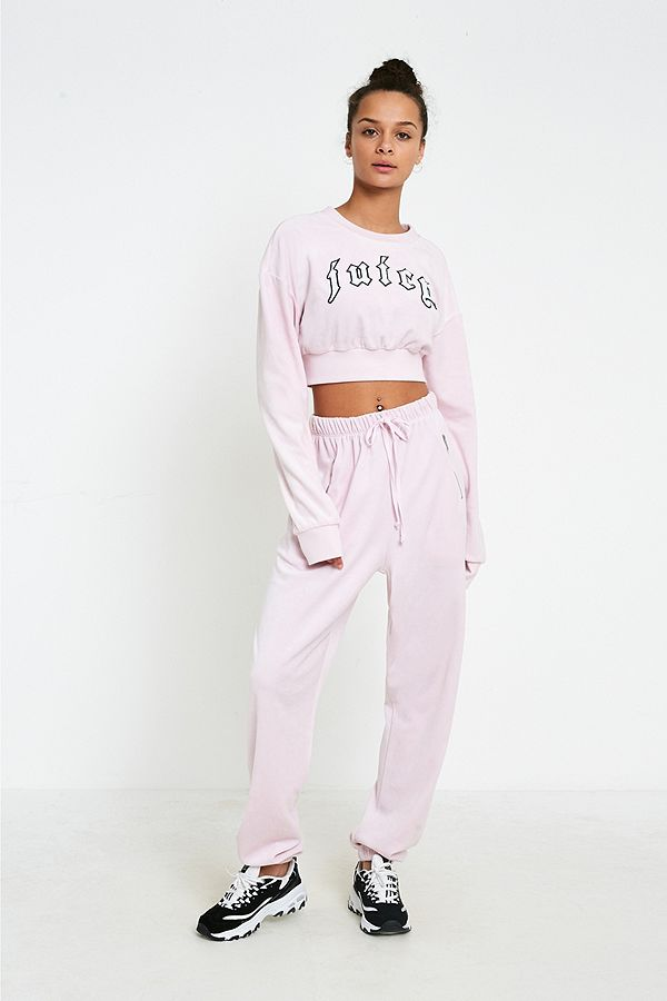 ca87bdeabafff1 Juicy Couture X VFILES Pink Velour Sweatpants | Urban Outfitters UK