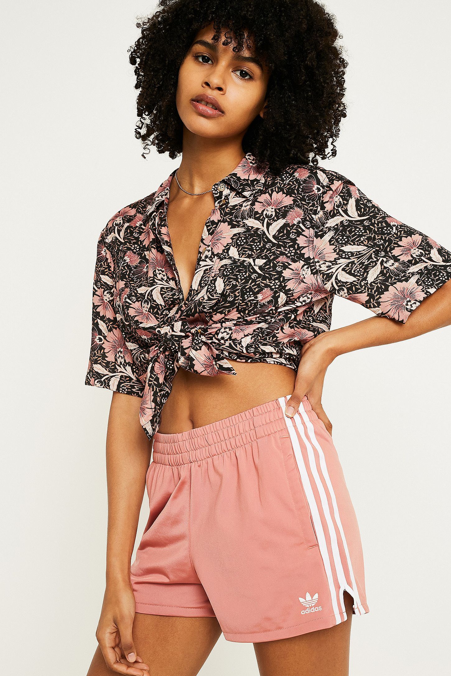 76fd001252a25d adidas Originals Pink 3-Stripe Shorts
